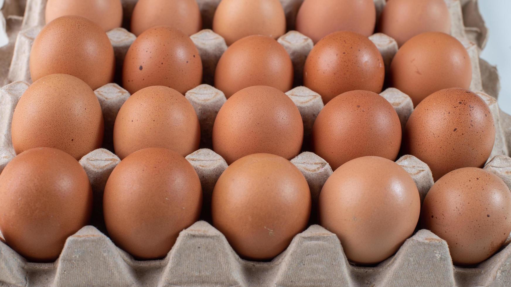 braune Eier im Karton foto