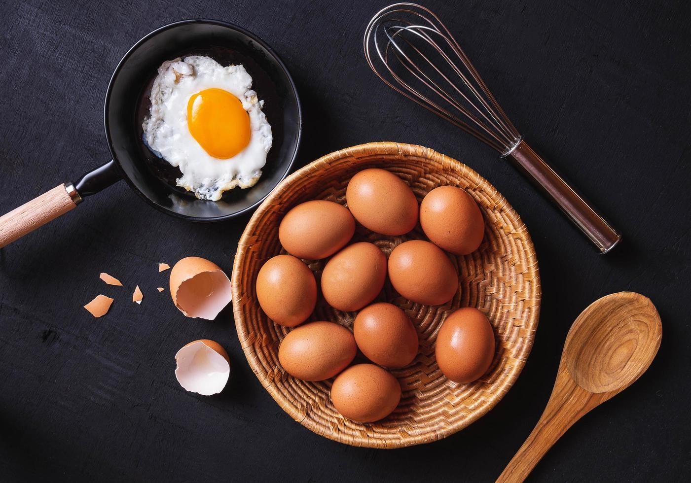 Pfanne mit Eiern und rohen Eiern foto
