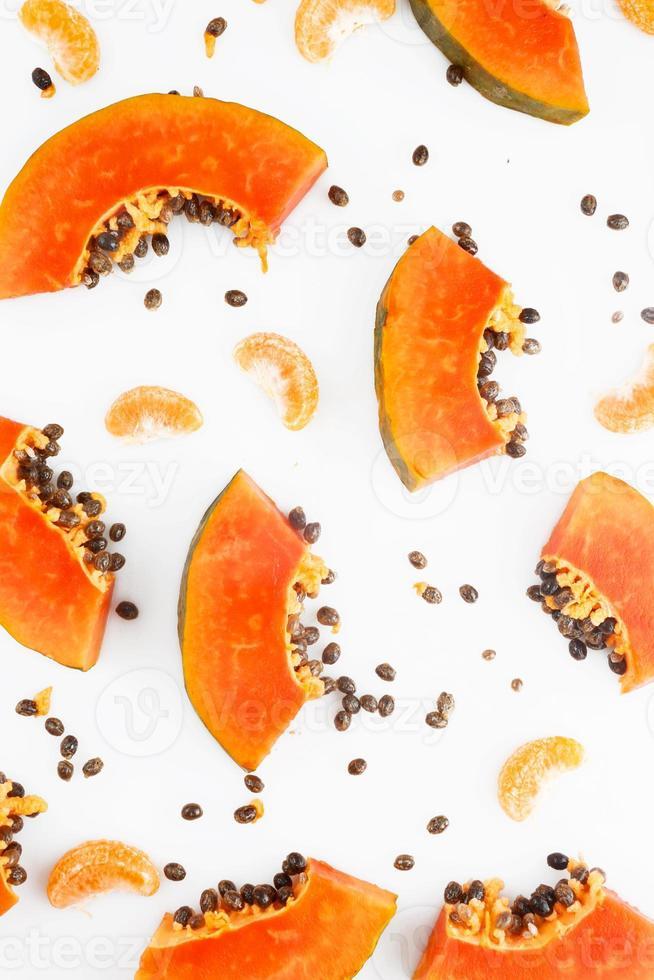 Papaya und Mandarine Frucht Hintergrund foto