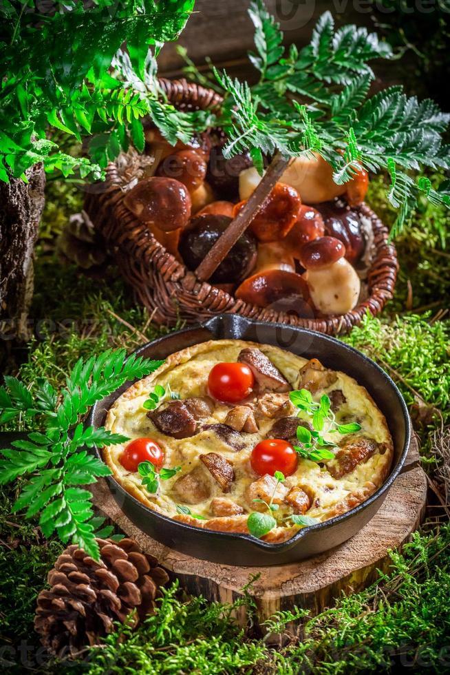 hausgemachte Rühreier auf Moos im Wald foto