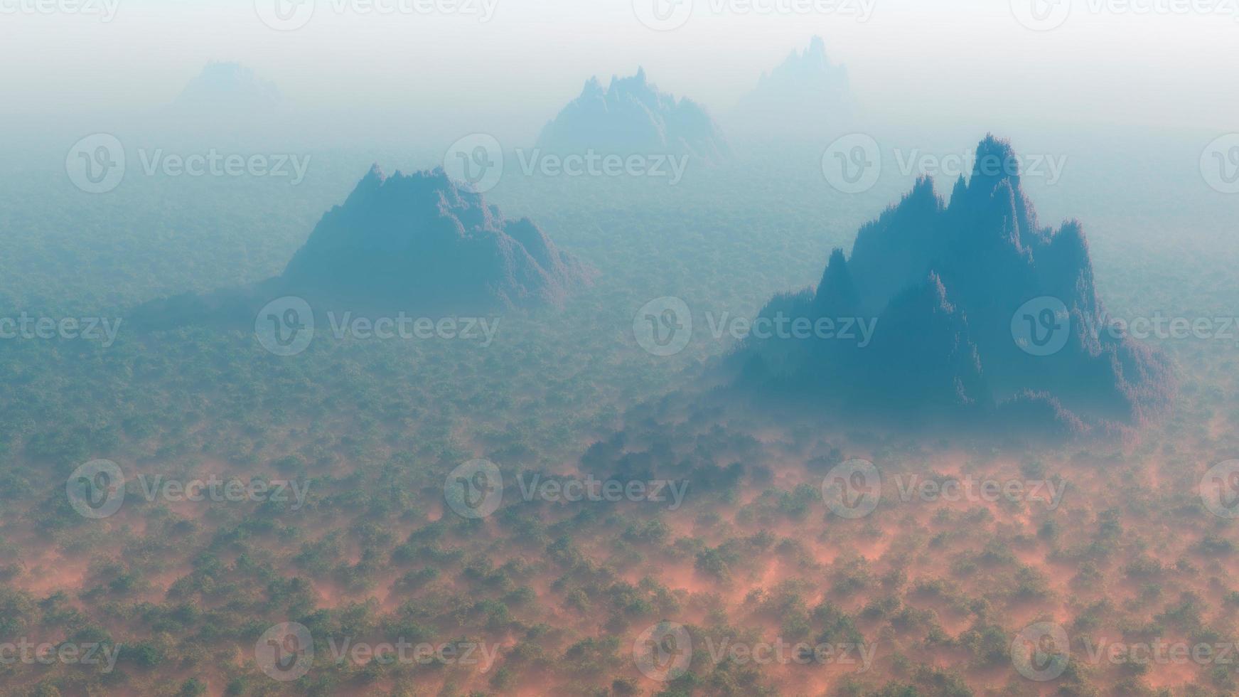 Antenne aus dichtem Wald mit Berggipfeln im Nebel. foto