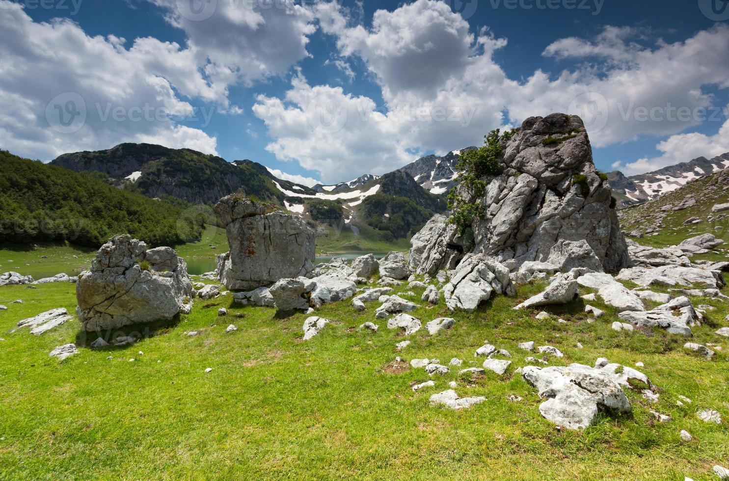 felsiges Tal unter hohen Bergen foto