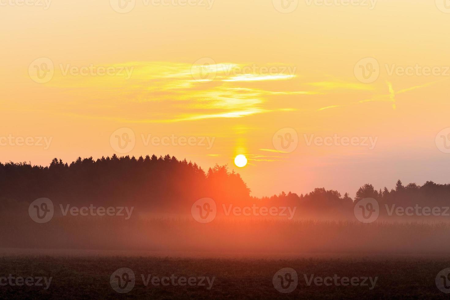 nebliger bayerischer Sonnenaufgang foto