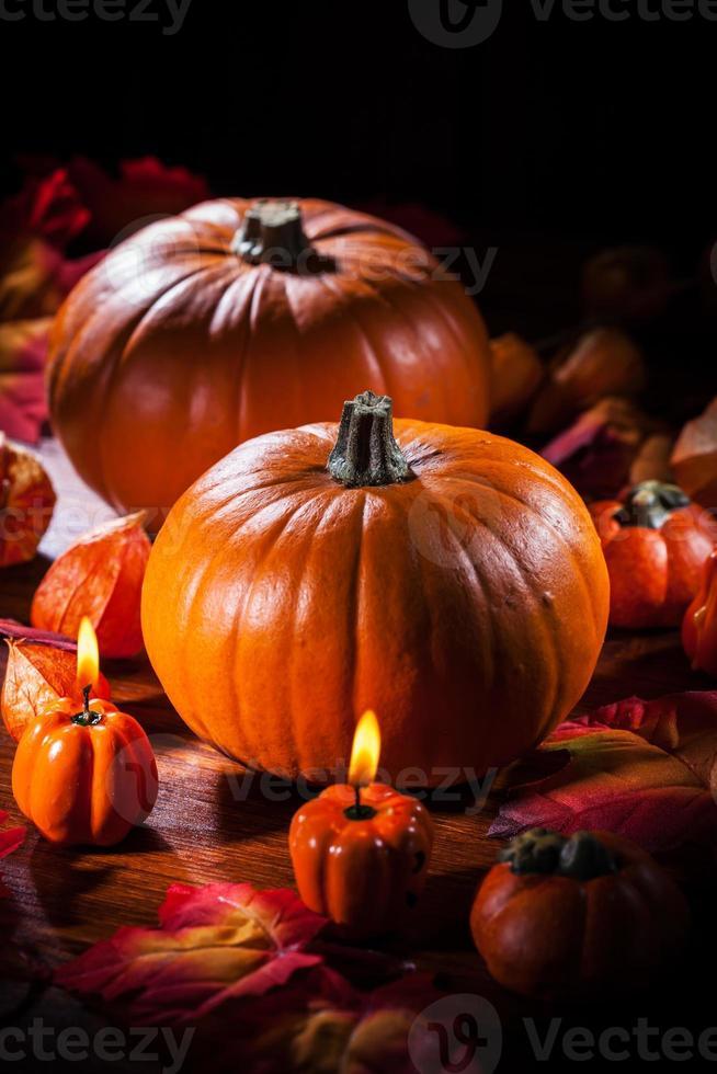 Kürbisse zum Erntedankfest und Halloween foto