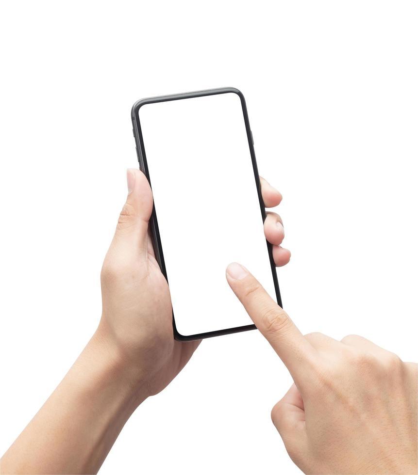 männliche Hand, die das schwarze Smartphone hält foto