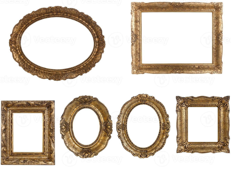 Satz goldener Weinleserahmen lokalisiert auf weißem Hintergrund foto