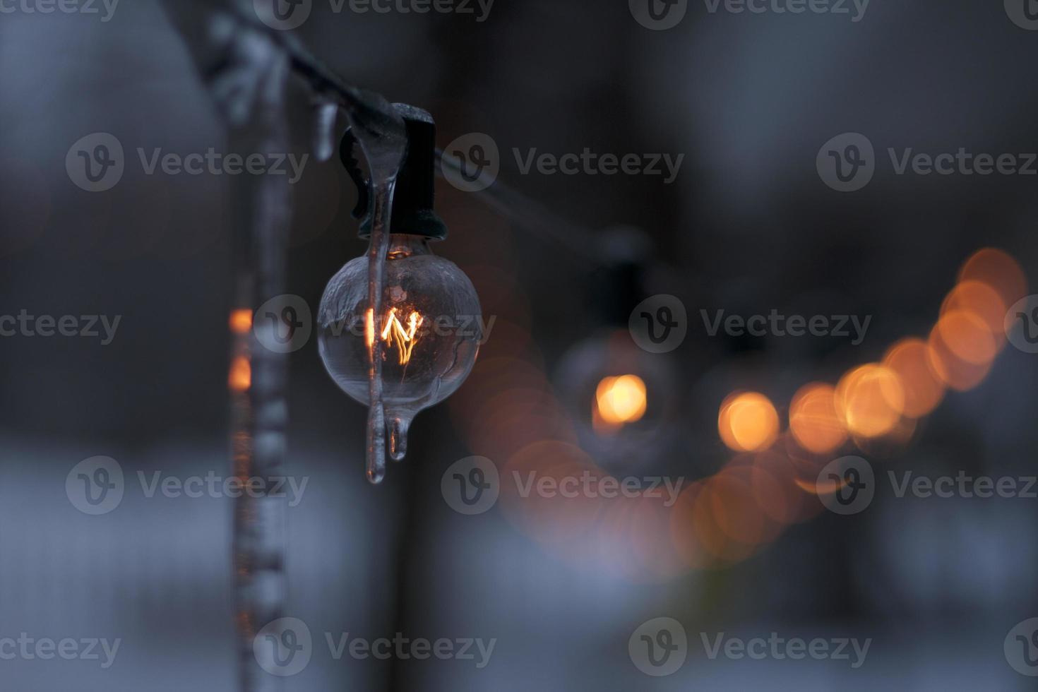 der eisige Lichtstrang foto