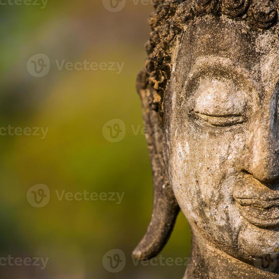 Stein Buddha Kopf Statue Nahaufnahme foto