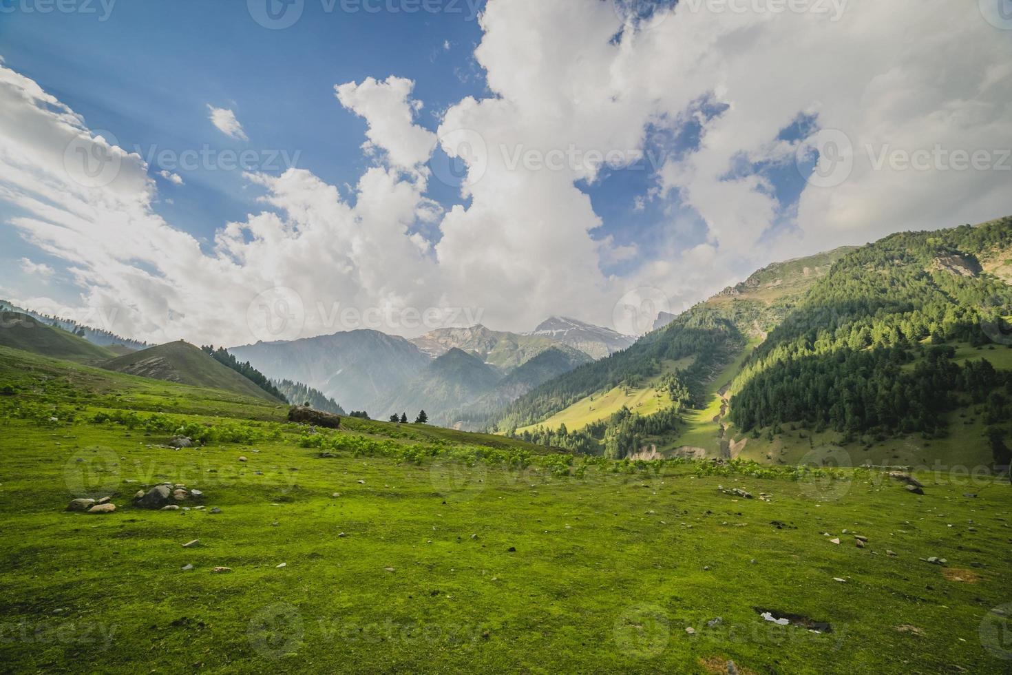 sanfte grüne Hügel und ein blauer Himmel foto