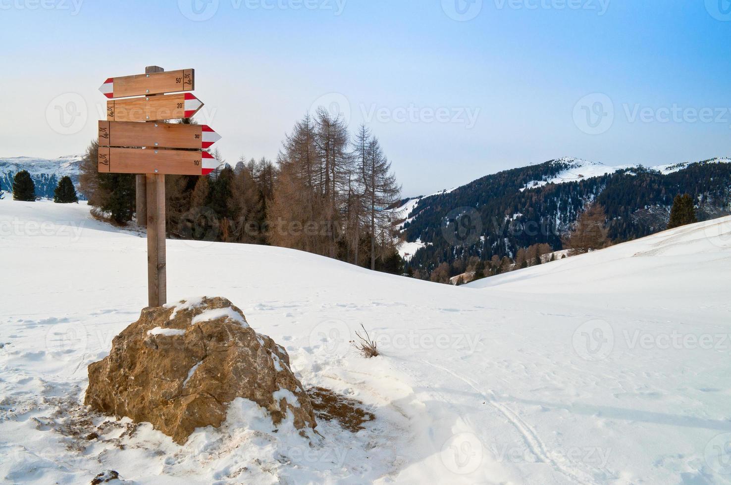 Wegweiser im Winter foto