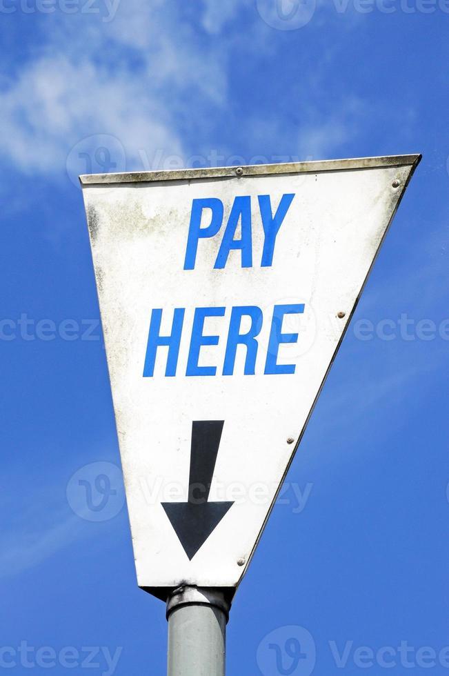 hier bezahlen Zeichen. foto