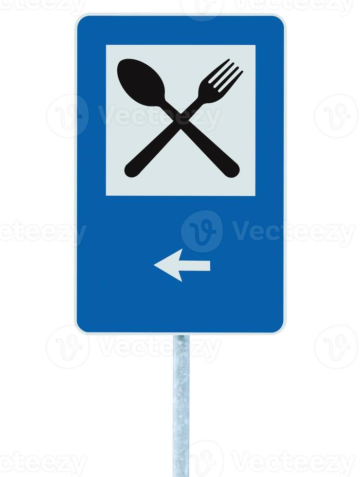 Restaurantschild Pole Post, Straßenverkehr Straßenschild, isolierter linker Pfeil foto