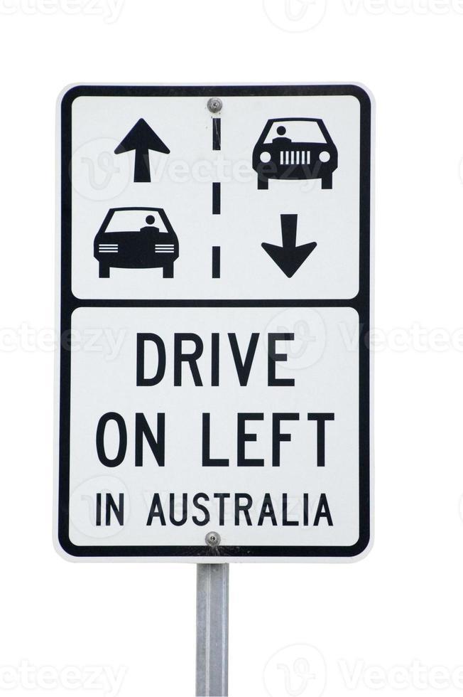 Schild, das Touristen daran erinnert, in Australien links zu fahren foto