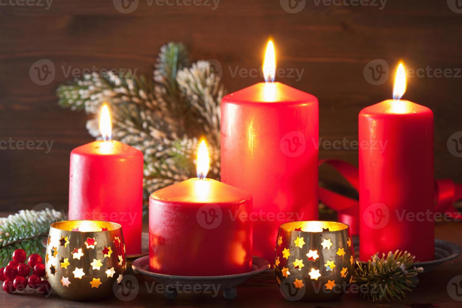 Weihnachtskerzen Laterne Dekoration foto