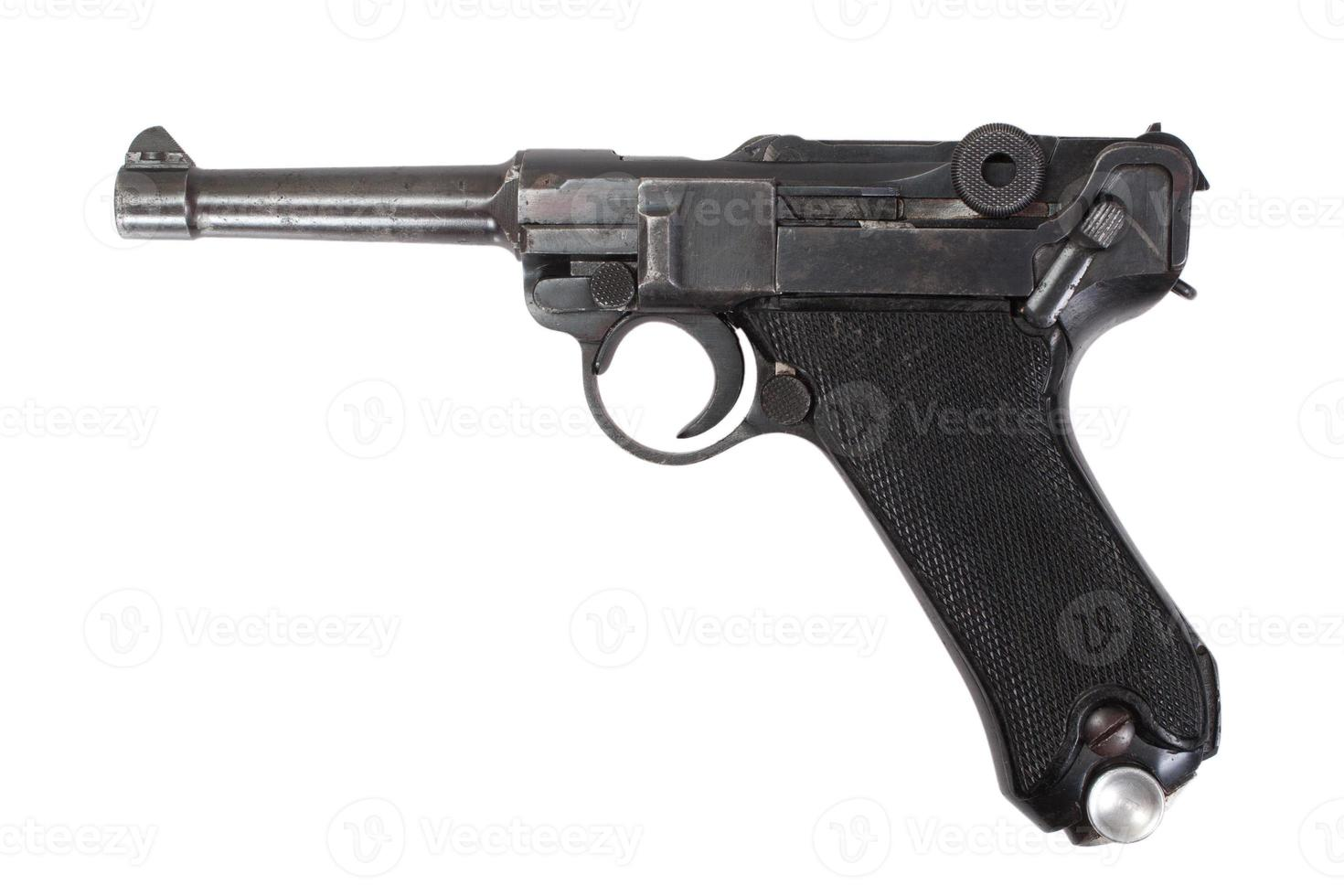 luger p08 parabellum handfeuerwaffe isoliert foto
