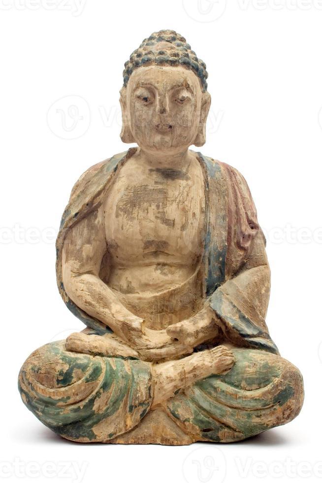 antiker hölzerner Buddha foto