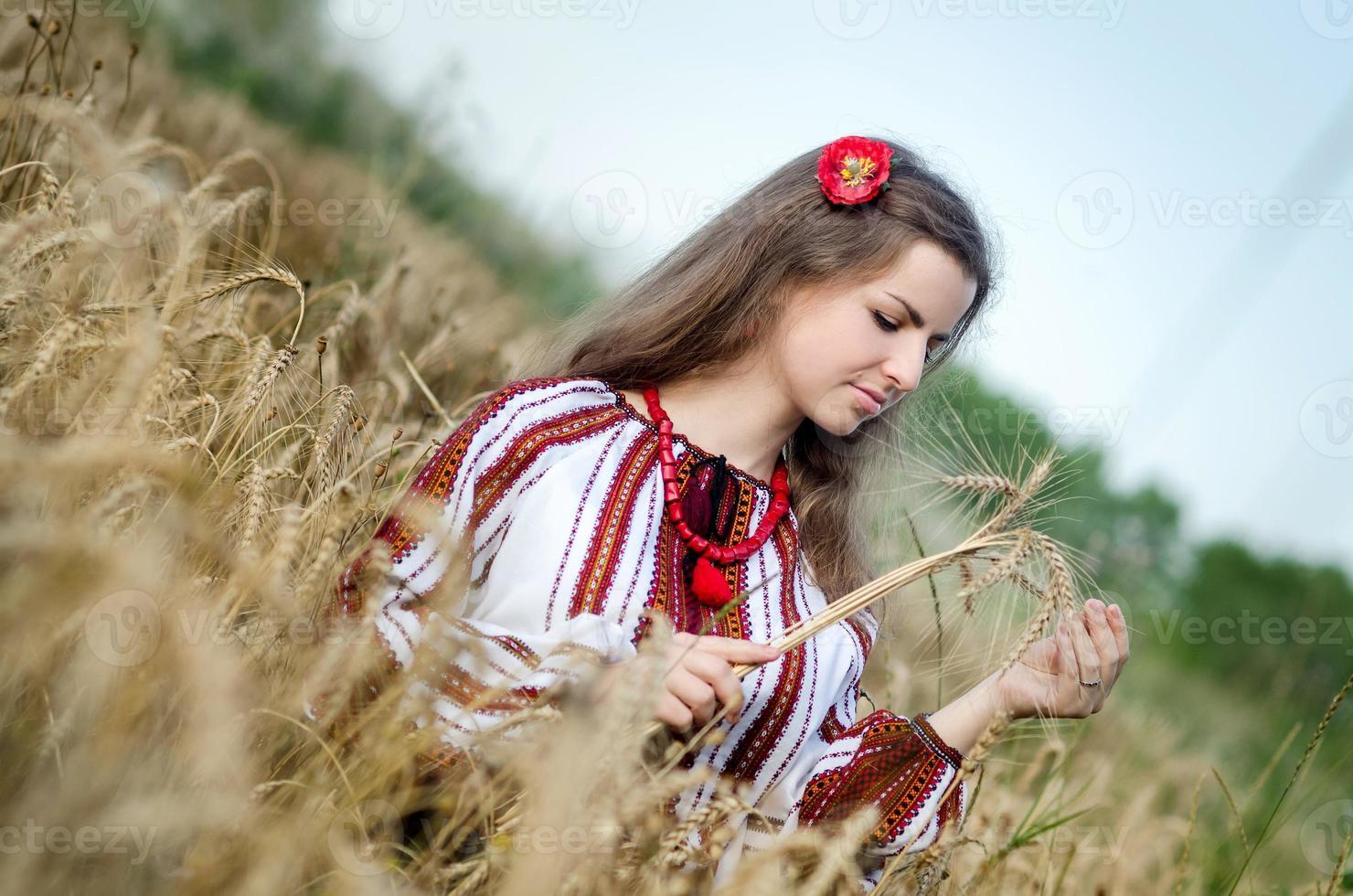 schönes Mädchen in nationalen ukrainischen Kleidern. Weizenfeld foto