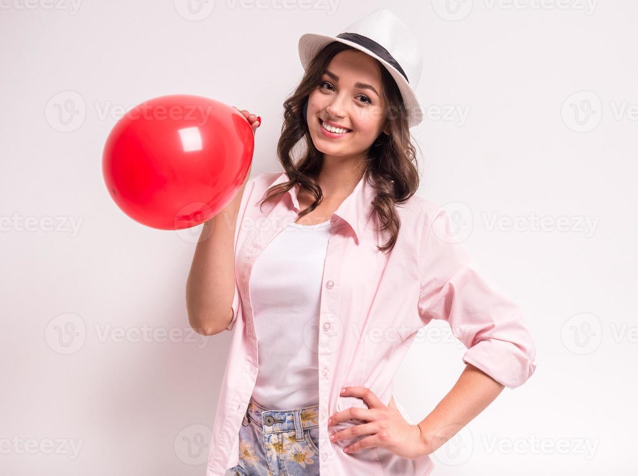 Frau mit Ballon foto