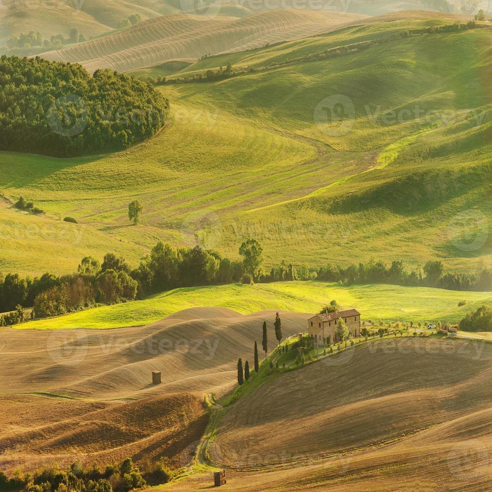 Landansicht in der toskanischen Landschaft von Pienza, Italien foto