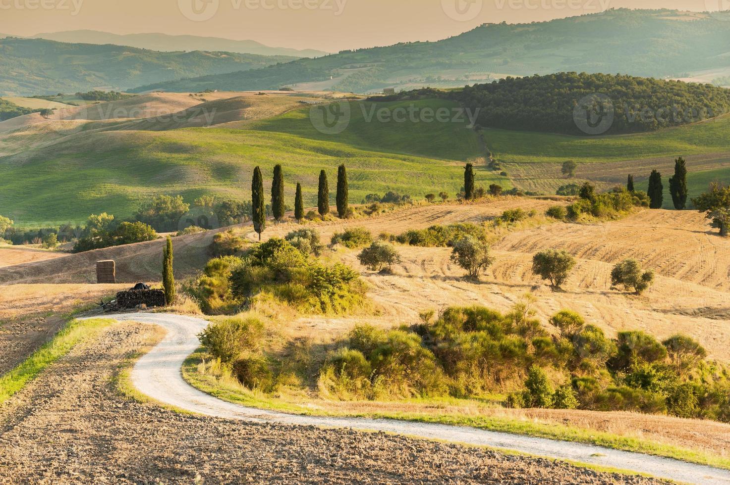 Wunderschön und voller Gelassenheit Landschaft der Toskana, Italien foto