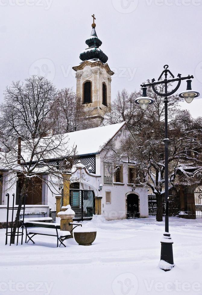 szentendre, ungarn, altstadt im winter foto