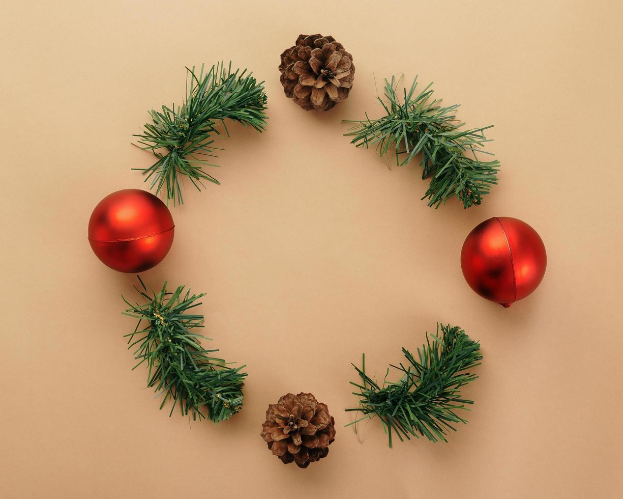 Draufsicht der Weihnachtsdekoration foto