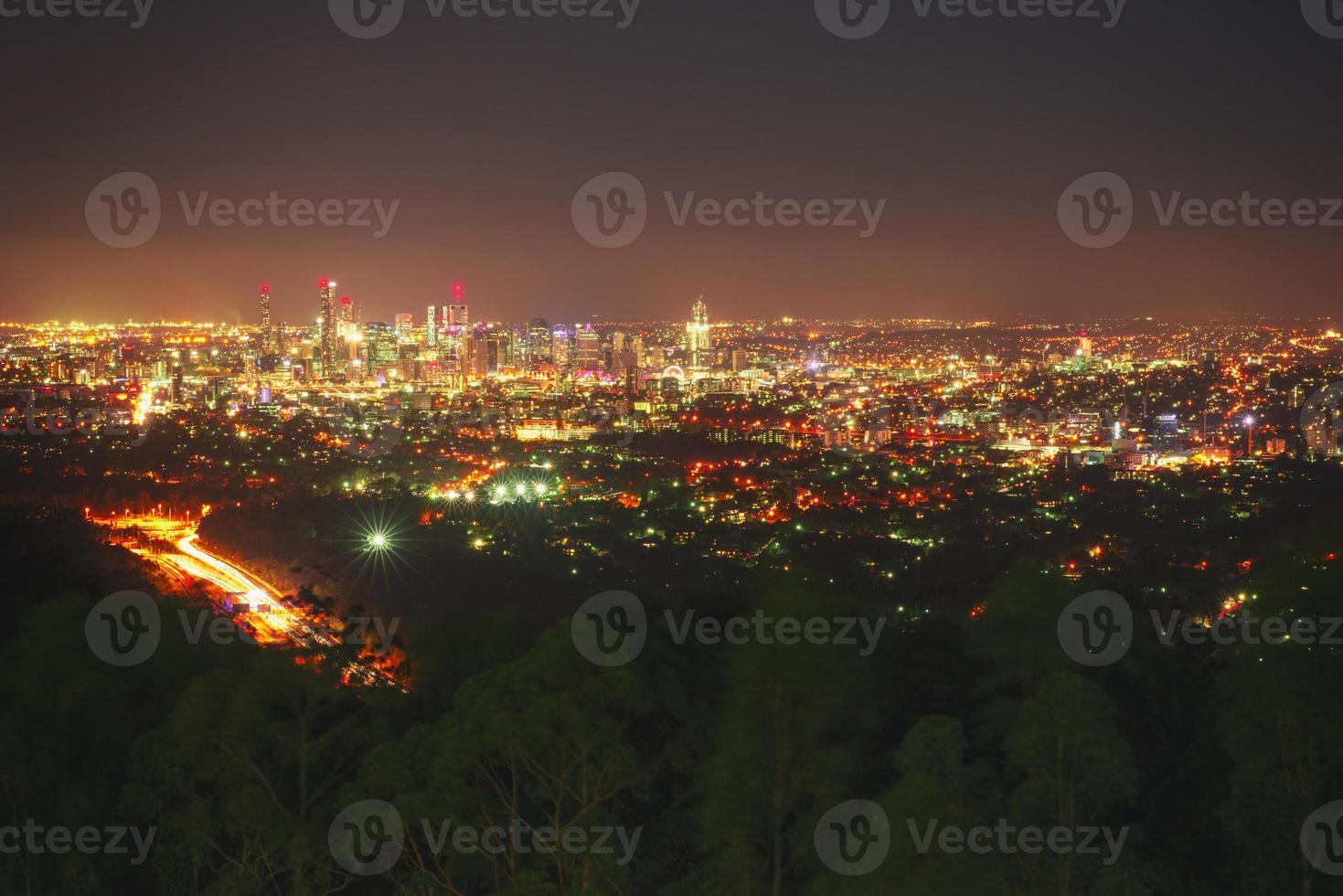 Blick auf Brisbane City vom Mount Coot-Tha foto