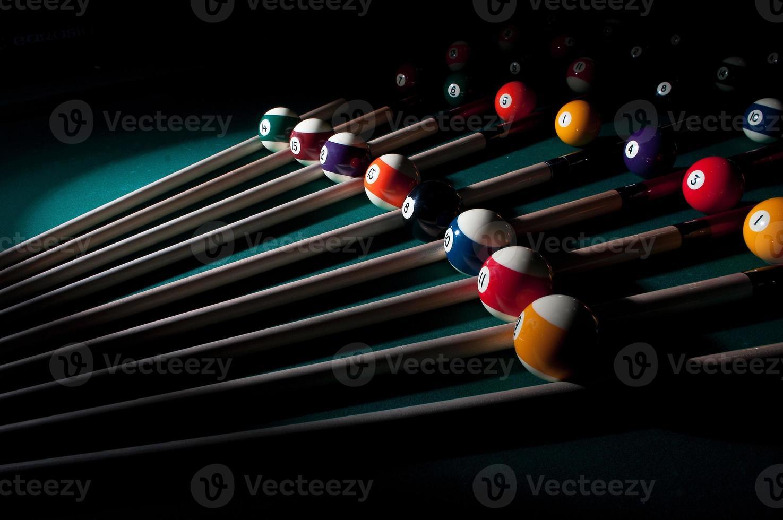 Zusammensetzung der Poolbälle foto