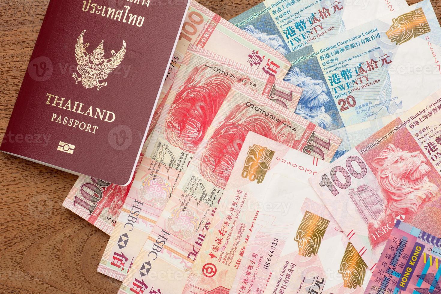 Thailand Pass mit Hongkong Währung foto