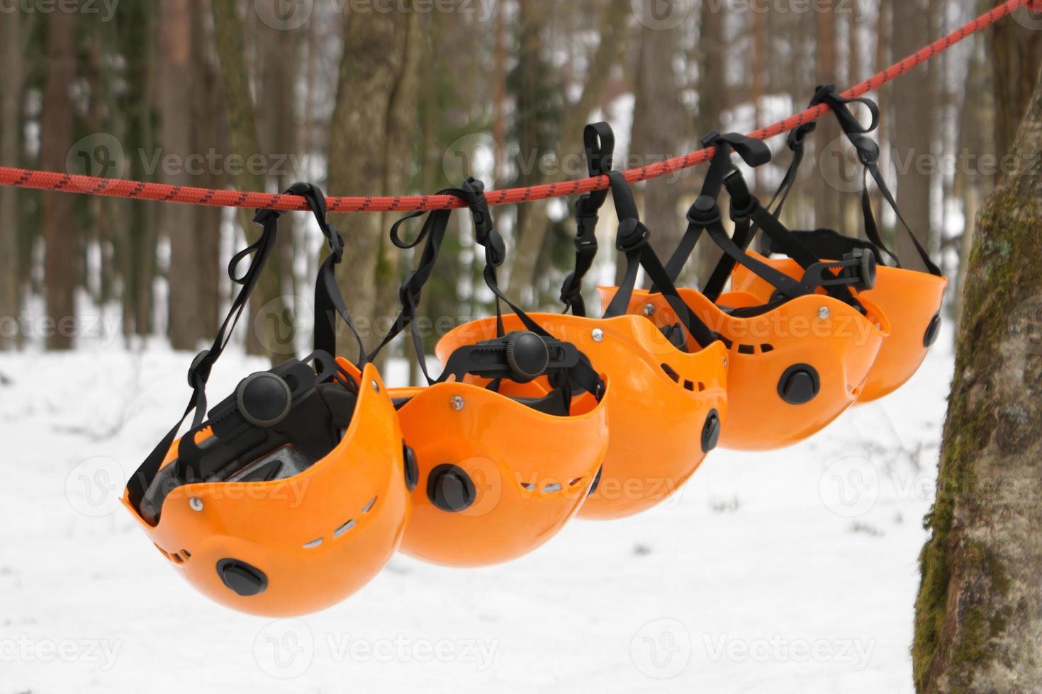die orangefarbenen Helme foto