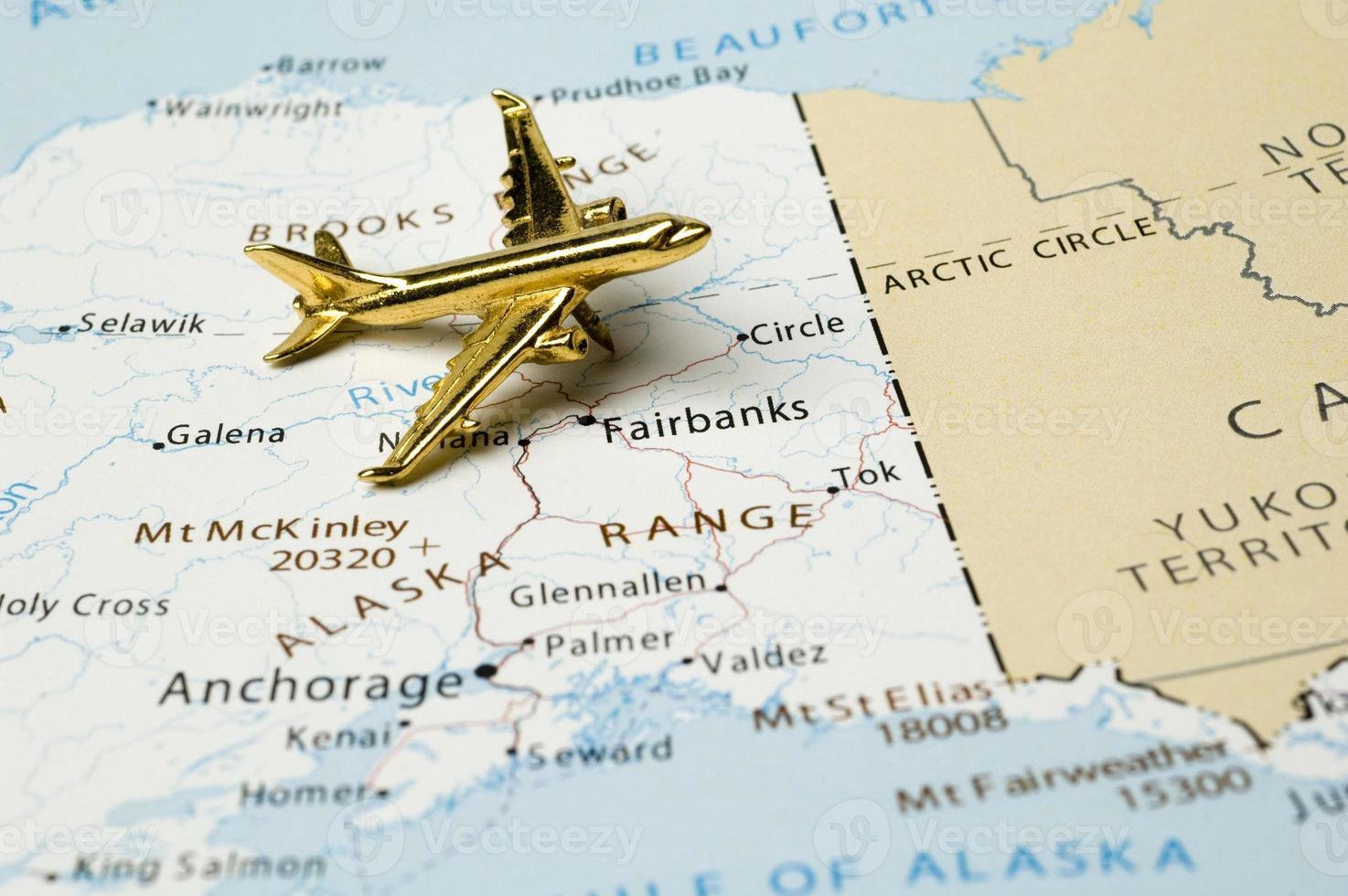 Flugzeug über Alaska Karte foto