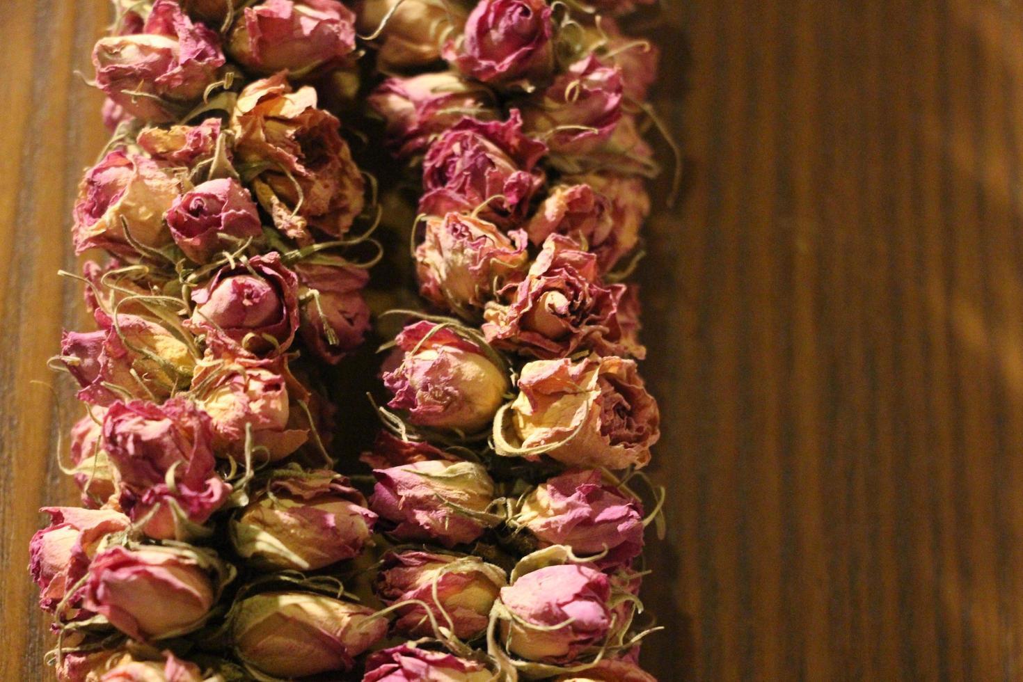 Nahaufnahme von getrockneten Rosen foto