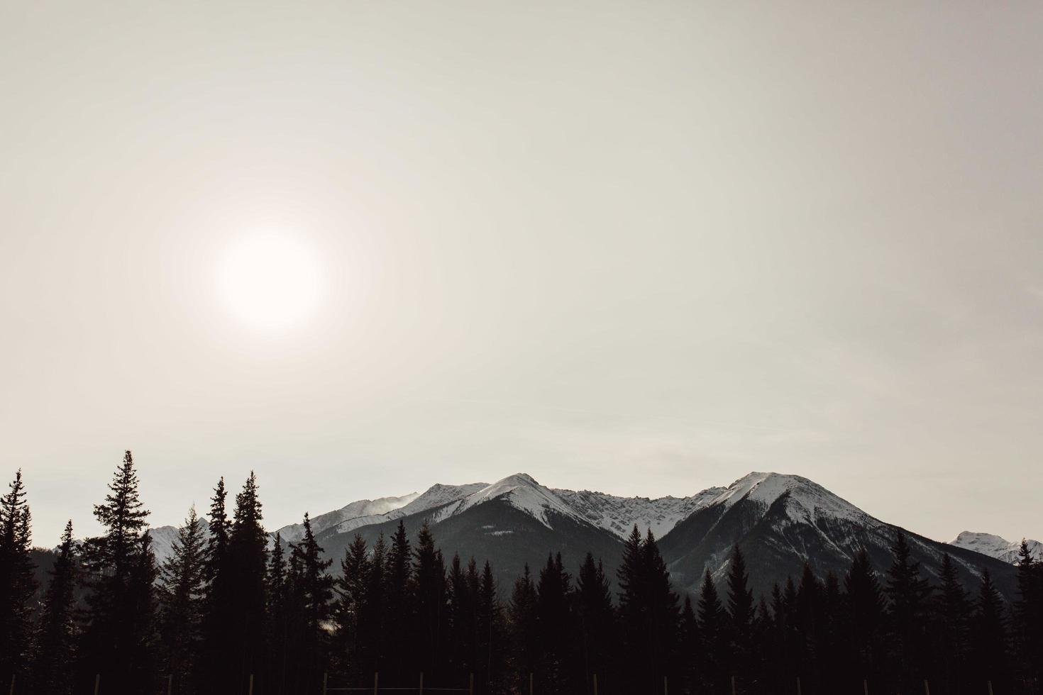 Graustufen-Landschaftsfoto des Berges foto