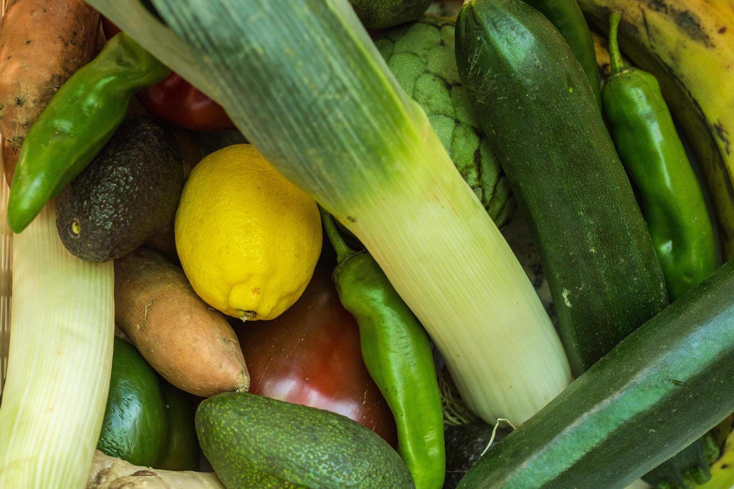 Draufsicht auf Gemüse foto