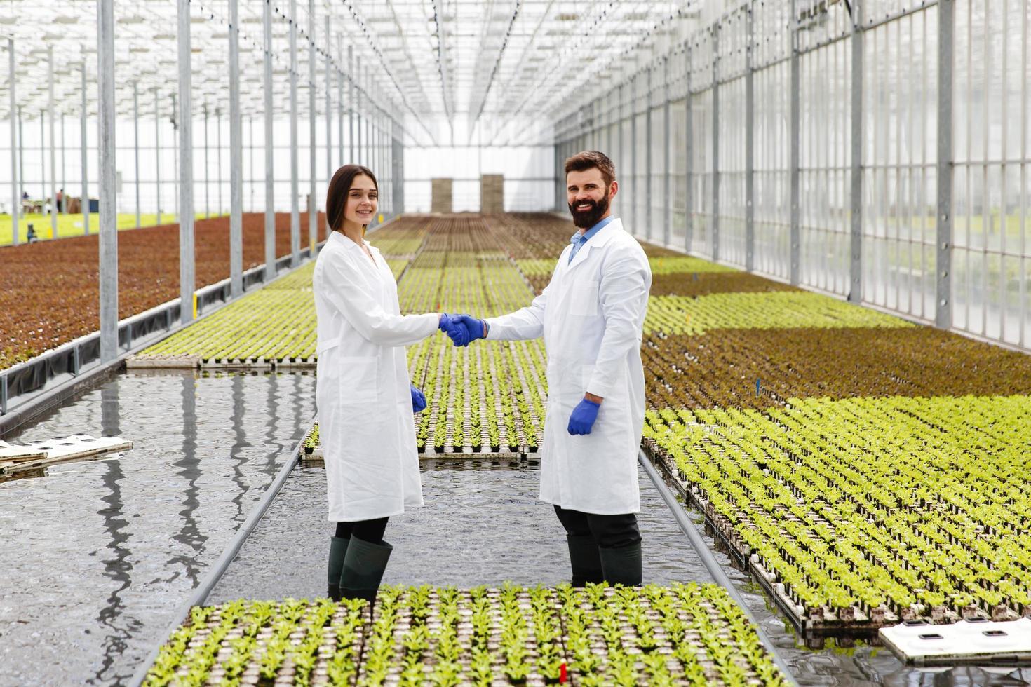 zwei Forscher geben sich die Hand foto