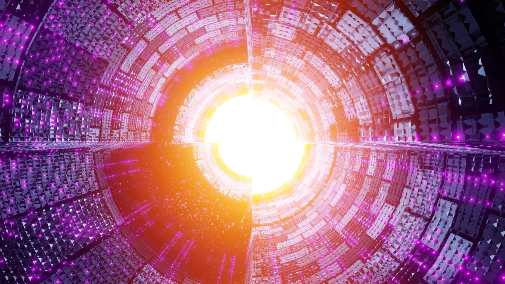futuristischer Raumschiff-Tunnel, ein Hintergrundbild der 3D-Illustration foto