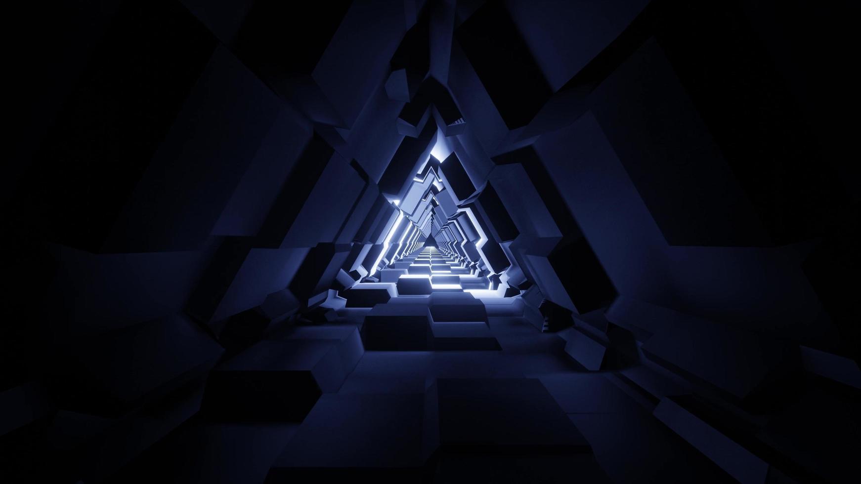 ein futuristischer Dreieckraumtunnel der 3D-Illustration foto