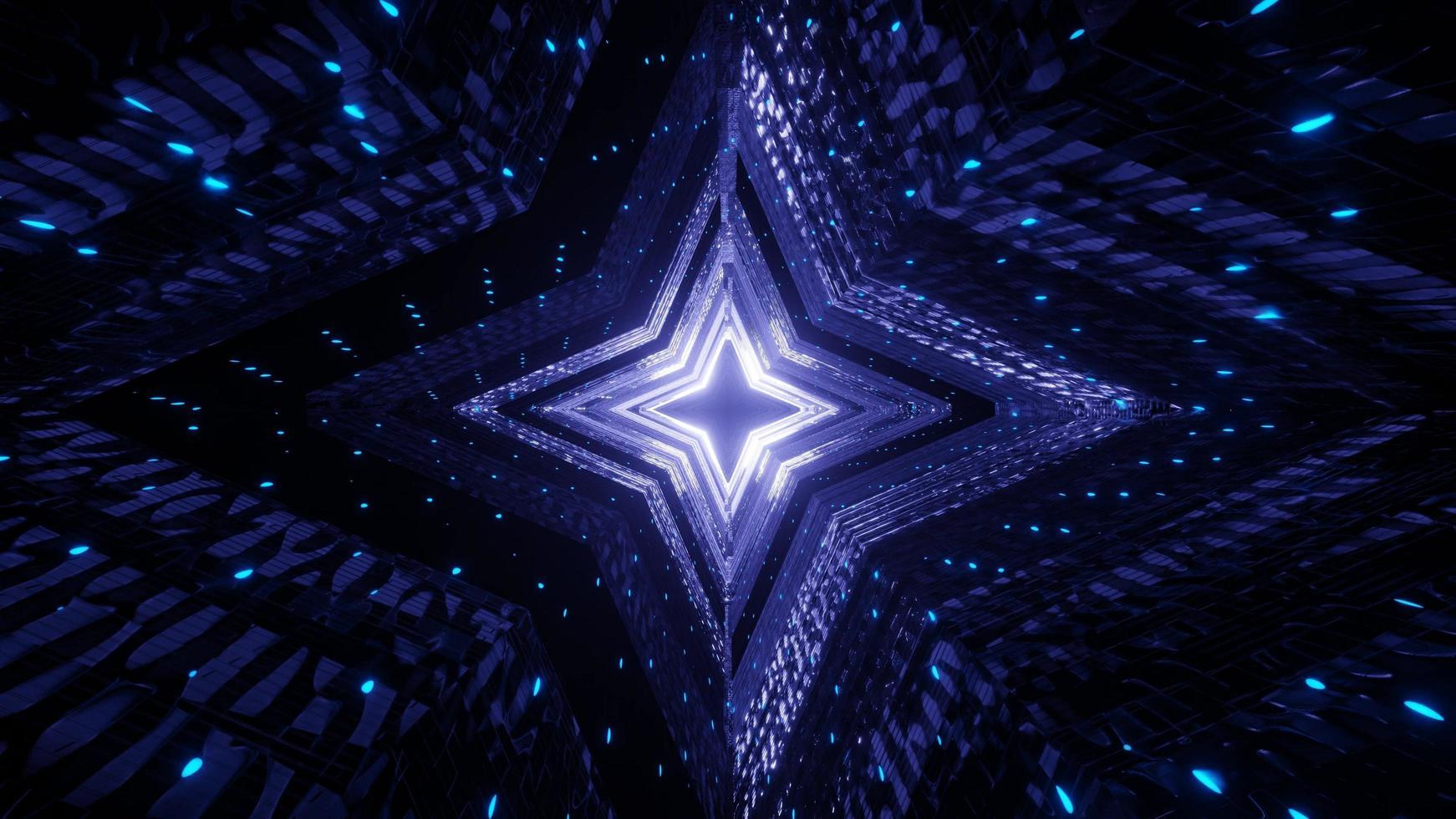 leuchtende 3d blaue Neonlichtstrahlen foto
