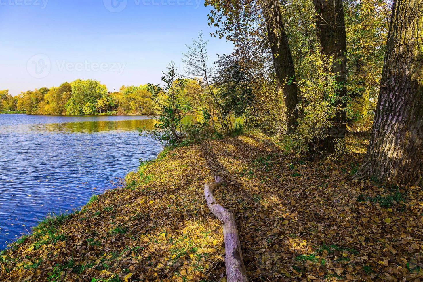 Herbstlandschaft mit See und Bäumen foto