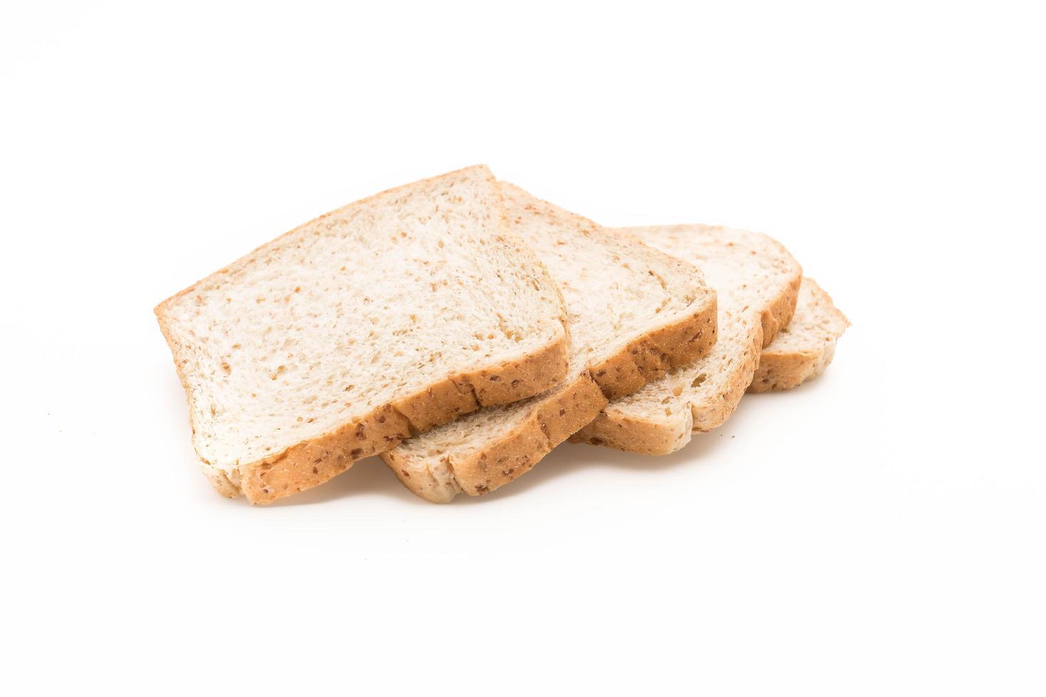 Brotscheiben auf weißem Hintergrund foto