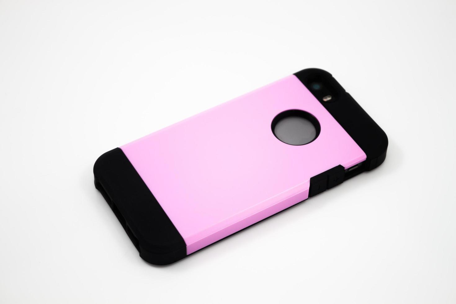 rosa Fall auf einem Smartphone foto