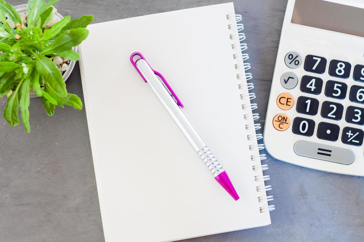 Taschenrechner, Notizblock und Stift mit einer grünen Pflanze auf einem grauen Hintergrund foto