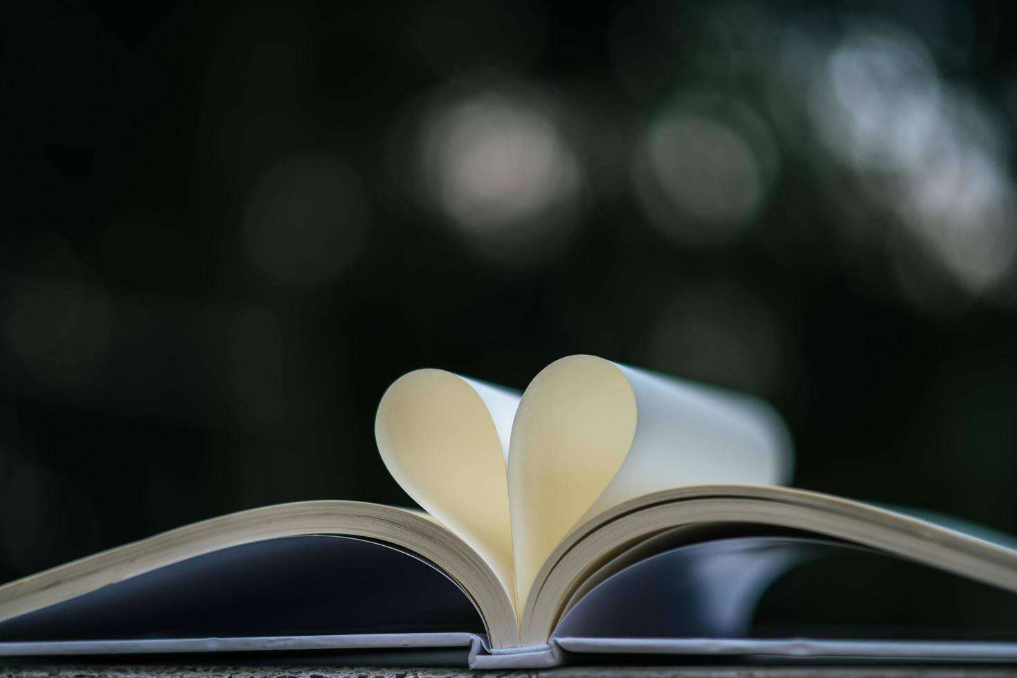offenes Buch mit Herzform foto