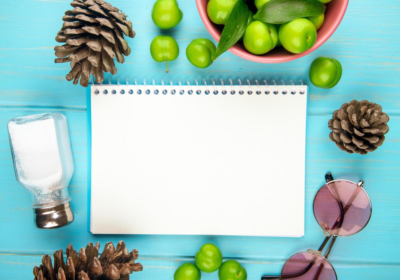 Draufsicht auf ein Skizzenbuch, umgeben von Früchten und Tannenzapfen foto