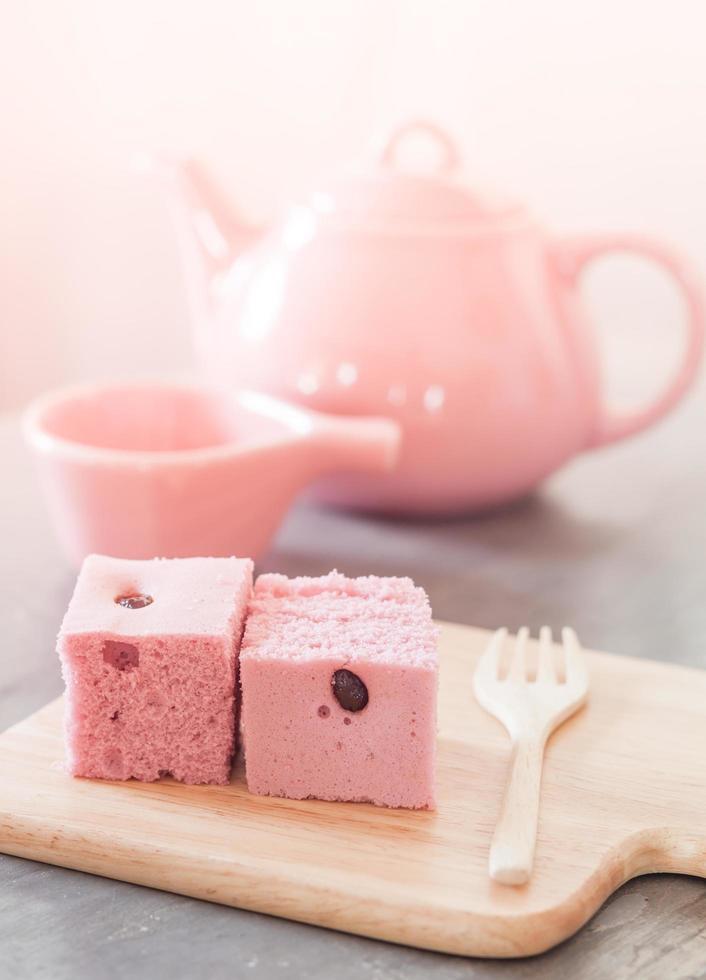 rosa Kuchen und Teeservice foto