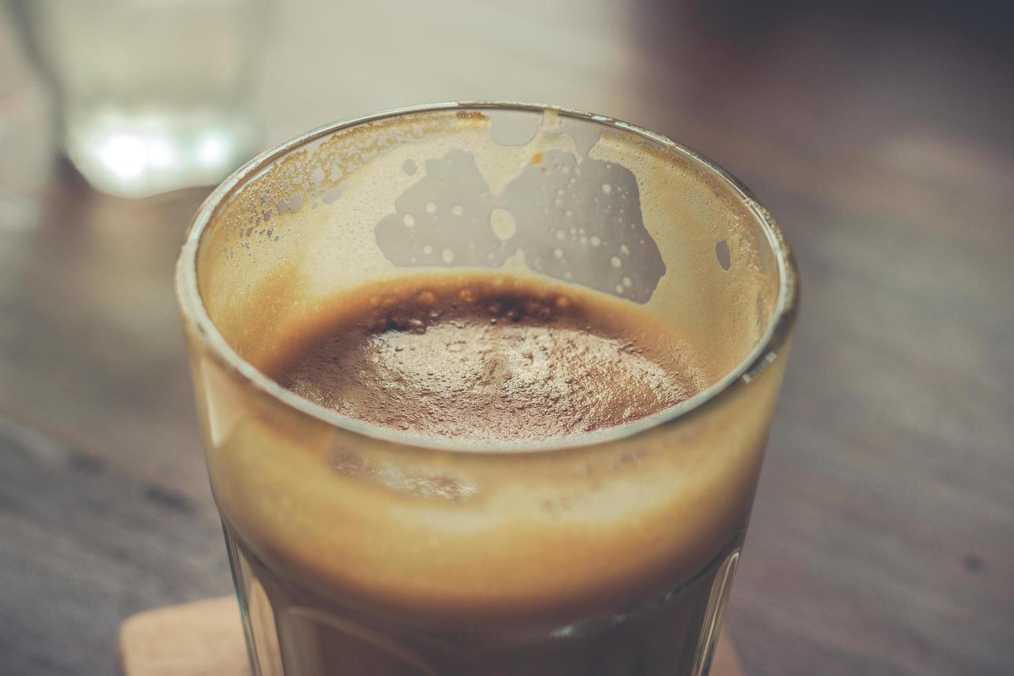Nahaufnahme von Glas Kaffee foto
