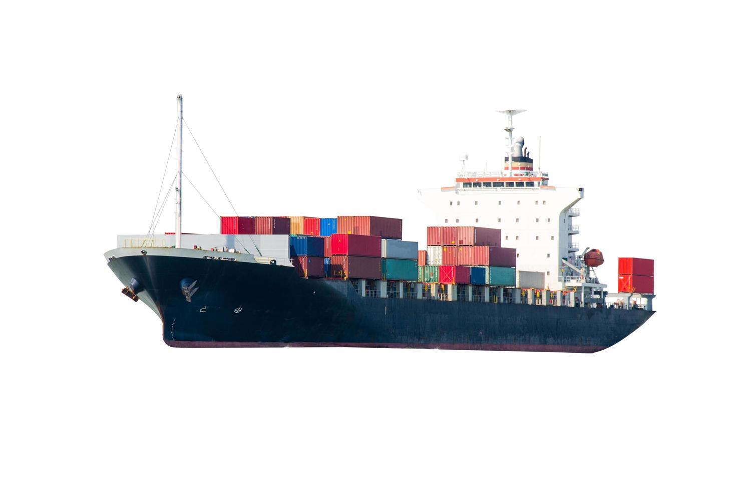 Containerfrachtschiff auf weißem Hintergrund foto