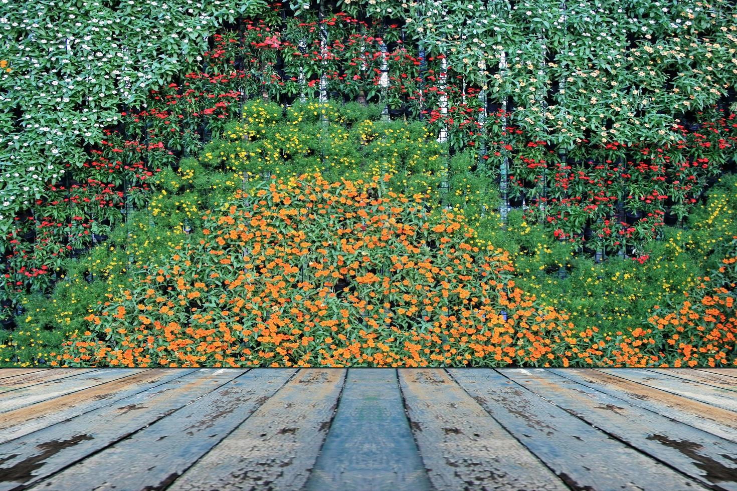 Blumenwand und Holztisch foto