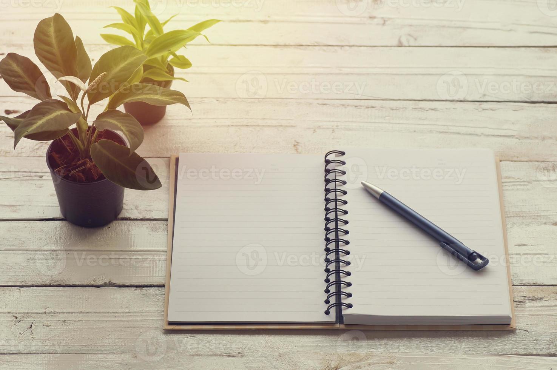 offenes, mit Buch ausgekleidetes Papier mit einem Stift auf dem Tisch foto