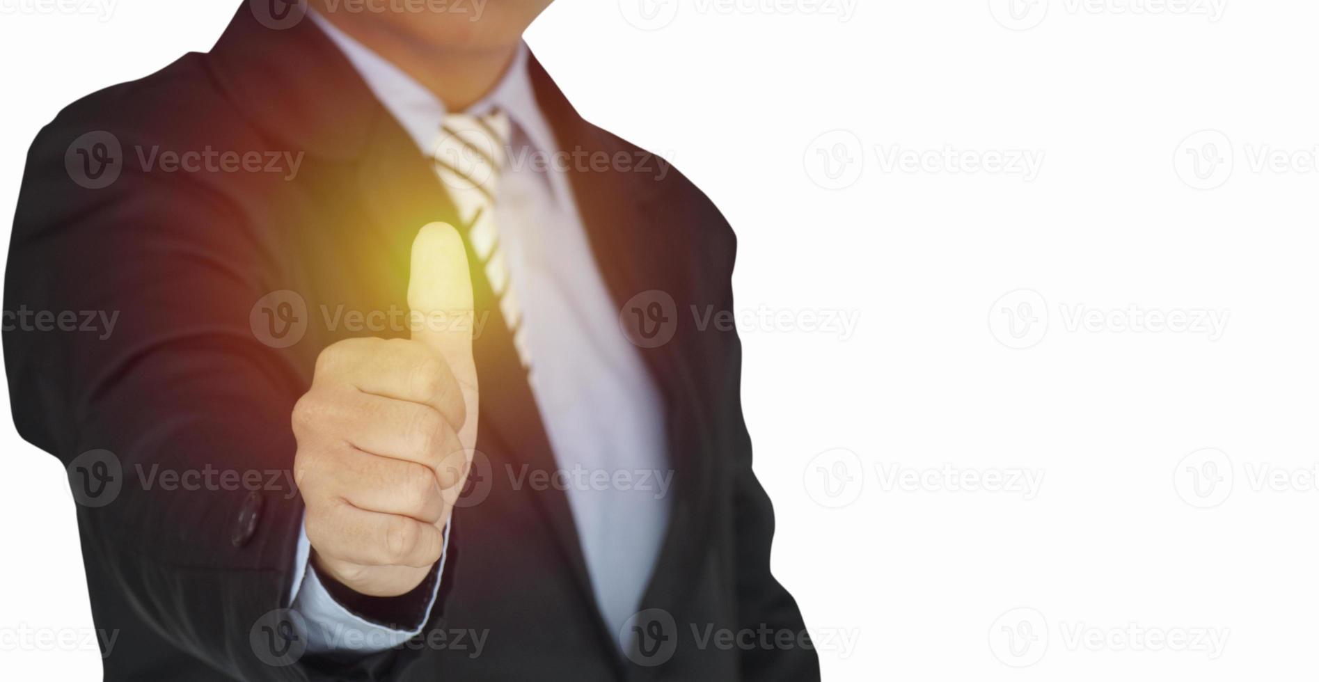 Geschäftsmann zeigt Daumen hoch foto